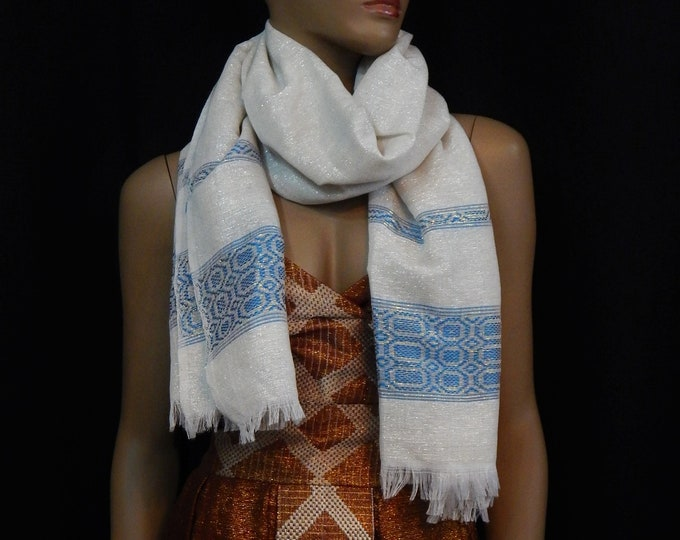 White Hand-Spun Cotton Scarf Stripe with Shiny Blue, Onion-Red and Brown Saba Finish
