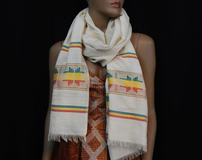 White and Gold Cotton Scarf with Red Yellow Green Saba Embroidered Finish