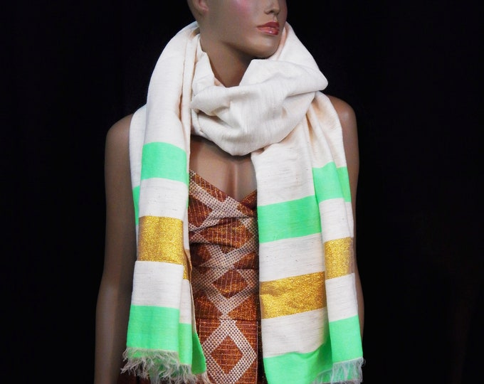 White Hand-Spun Cotton Scarf Striped with Gold Threads and Lime Yarn Finish