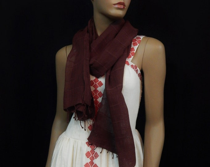 Dark Reddish Brown Hand Woven Cotton Scarf