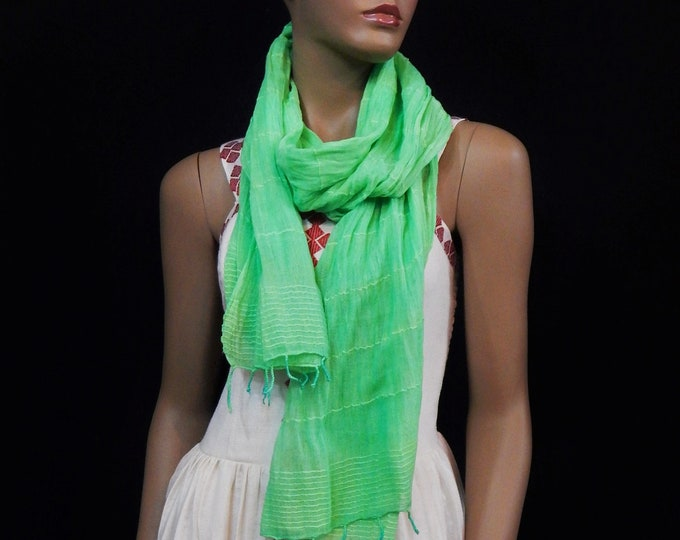 Light Green Hand Woven Cotton Scarf
