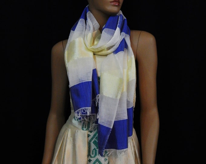 Striped Scarf with White Cotton, Shiny Deep Blue and Yellow Saba threads
