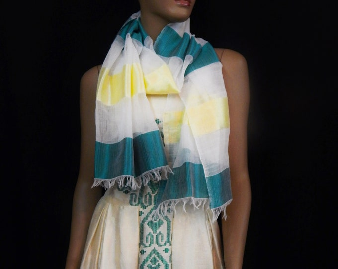 Striped Scarf with White Cotton, Shiny Green and Yellow Saba threads