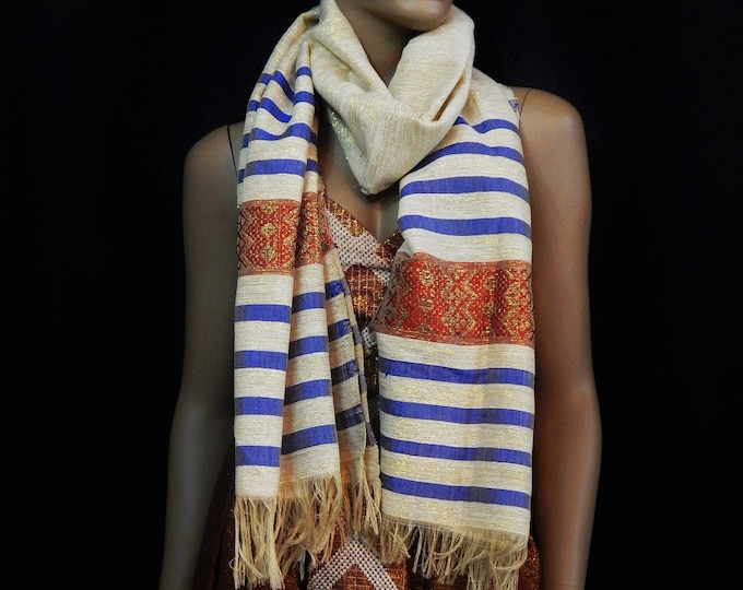 White Hand-Spun Cotton and Gold Scarf with Deep Blue, Crimson and Gold Stripes