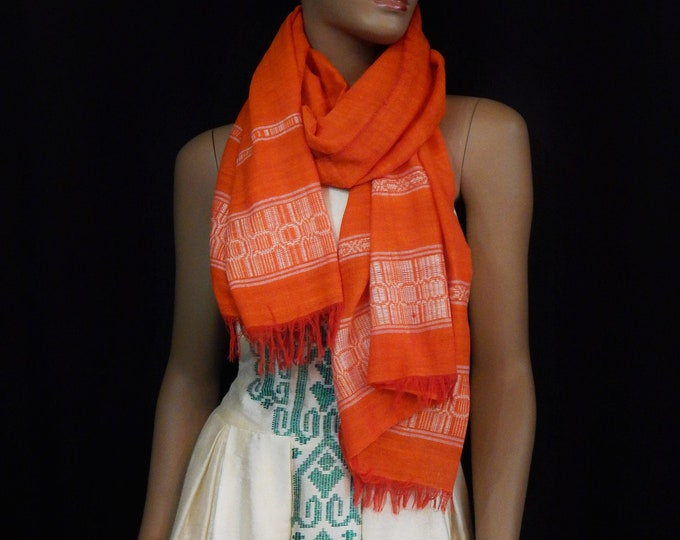 Orange Threaded Scarf with White Thread Finish