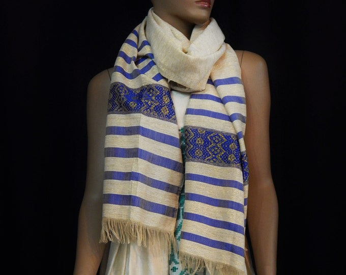 White Hand-Spun Cotton and Gold Scarf with Deep Blue and Gold Stripes
