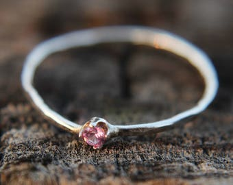 Pink Tourmaline, sterling silver hammered stacking ring with 2mm stone
