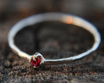 Garnet, sterling silver hammered stacking ring with 2mm stone