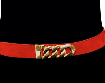"""Vintage Red Leather Belt, Red Suede Belt with Chunky Gold Tone Buckle, Large to Plus Size Belt, Fits 36""""-42"""" Waist"""