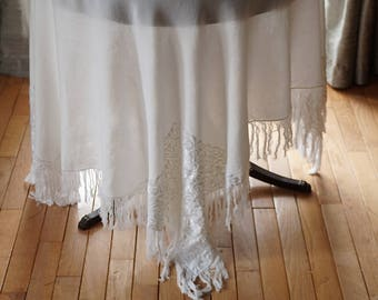 Vintage Fringed Tablecloth,56.7 X 54 Off White Table Cover,Throw,Piano Shawl