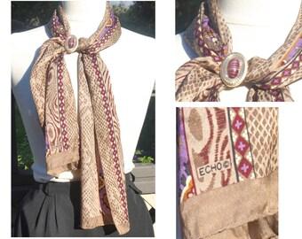 680782520 ECHO Vintage Silk Scarf | Animal Print Long Headscarf | 52