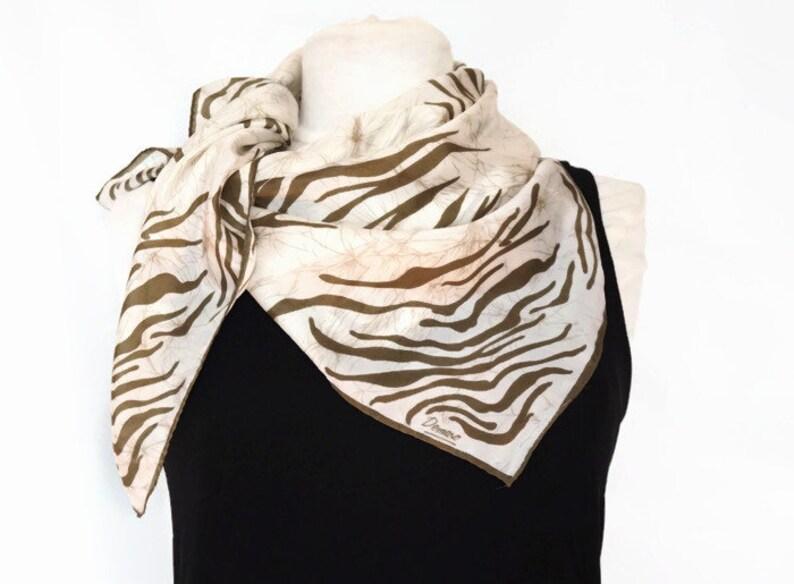 9dd3ce8cf Vintage DEMARO Silk Scarf 74cm/29 Square Scarf Khaki | Etsy