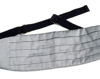 Vintage Silk Cummerbund, Mel Howard Grey & Silver Tuxedo Belt, One Size Fits All, Groom Wedding, Formal Black Tie Accessories, Made in USA
