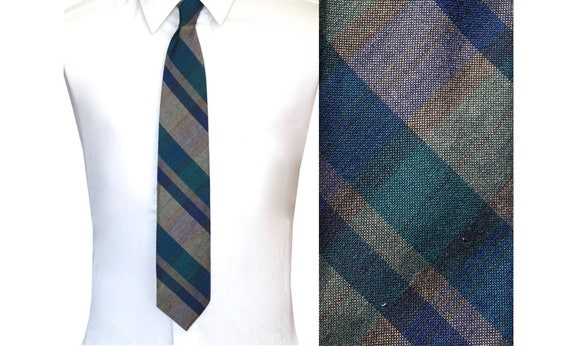 Vintage Plaid Wool Necktie  70s 80s Brown Green and Blue Tie Woolcroft by Wembley
