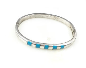 stamped mexico 925 TM-172 solid 925 silver bangle 7.5\u201d Vintage two tone Sterling silver handmade bracelet