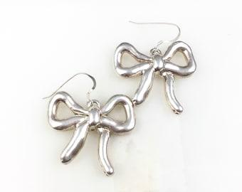 Vintage 925 Sterling Silver Modernist Puffy Dangle Earrings