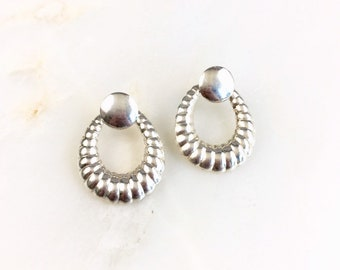 56dd6c987 Vintage Sterling Silver Modernist Shrimp Hoop Earrings