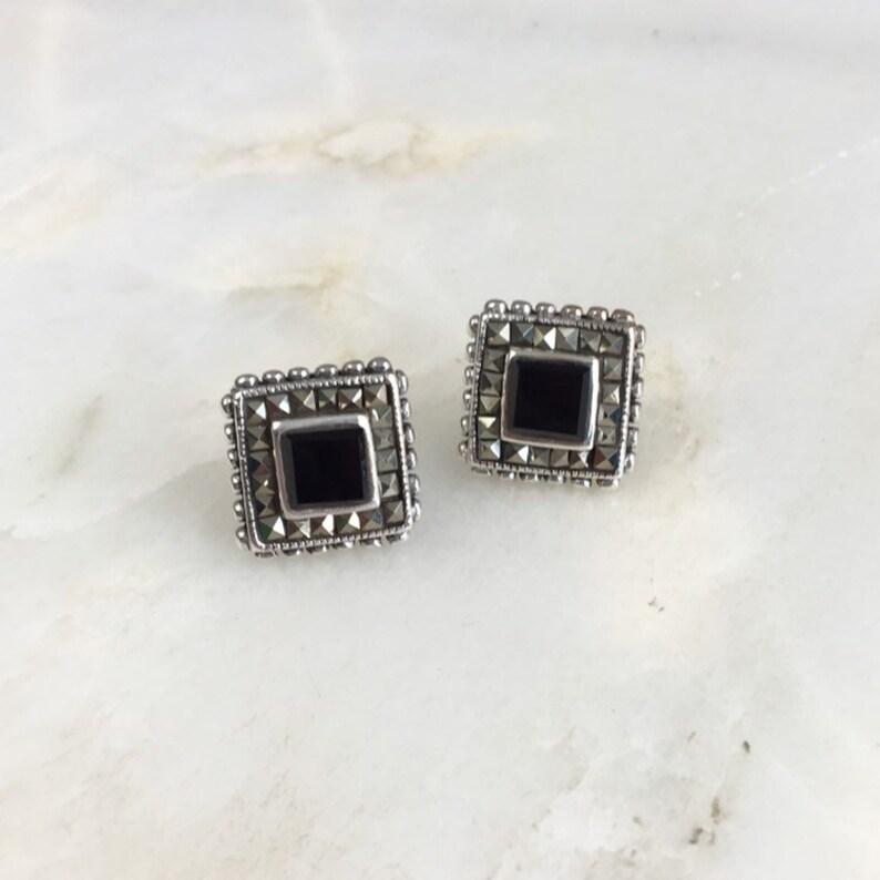 Vintage Sterling Silver Onyx Marcasite Stud Earrings