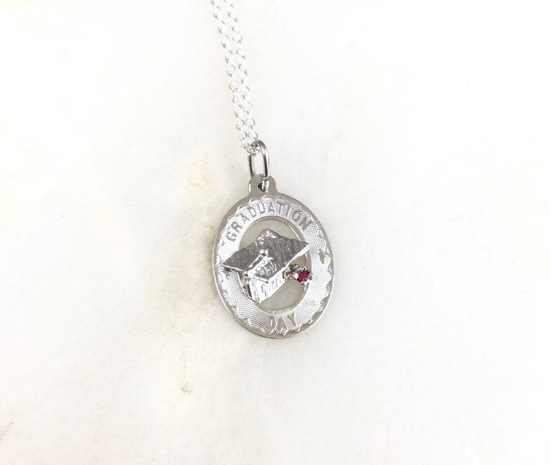 Vintage 925 Sterling Silver Graduation Day Pendant Charm Necklace