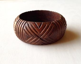 Vintage Chunky Wooden Carved Bangle