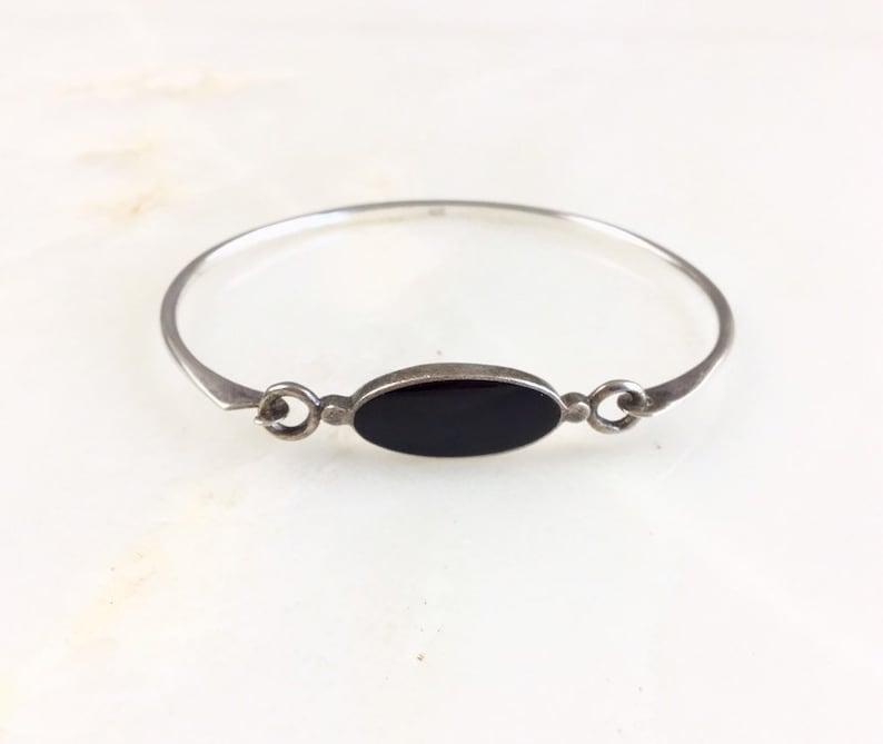 Vintage Sterling Silver Modernist Onyx Latch Bracelet