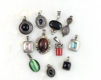 Vintage Sterling Mexican Southwest Onyx Gemstone Pendant lot