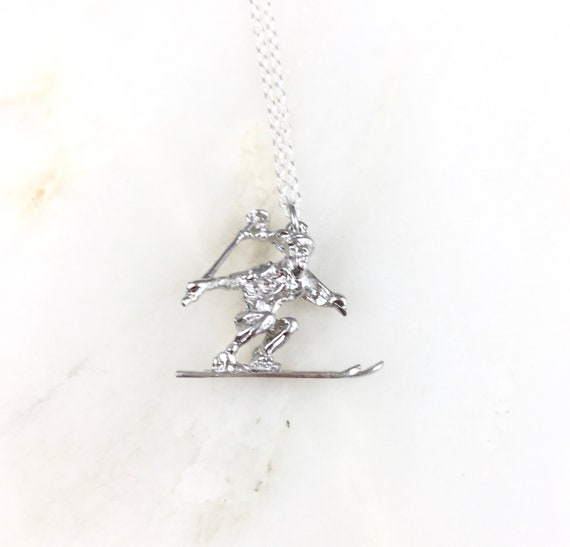 925 Sterling Silver Ski Poles and Skis Charm Made in USA