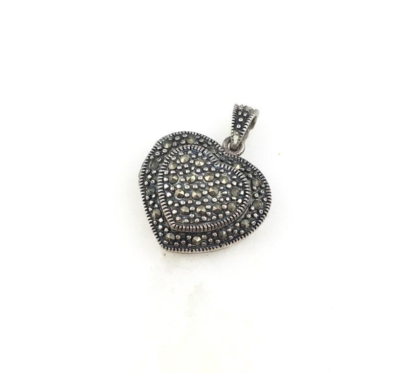 Vintage 925 Deco Sterling Silver Marcasite Heart Locket Pendant Necklace