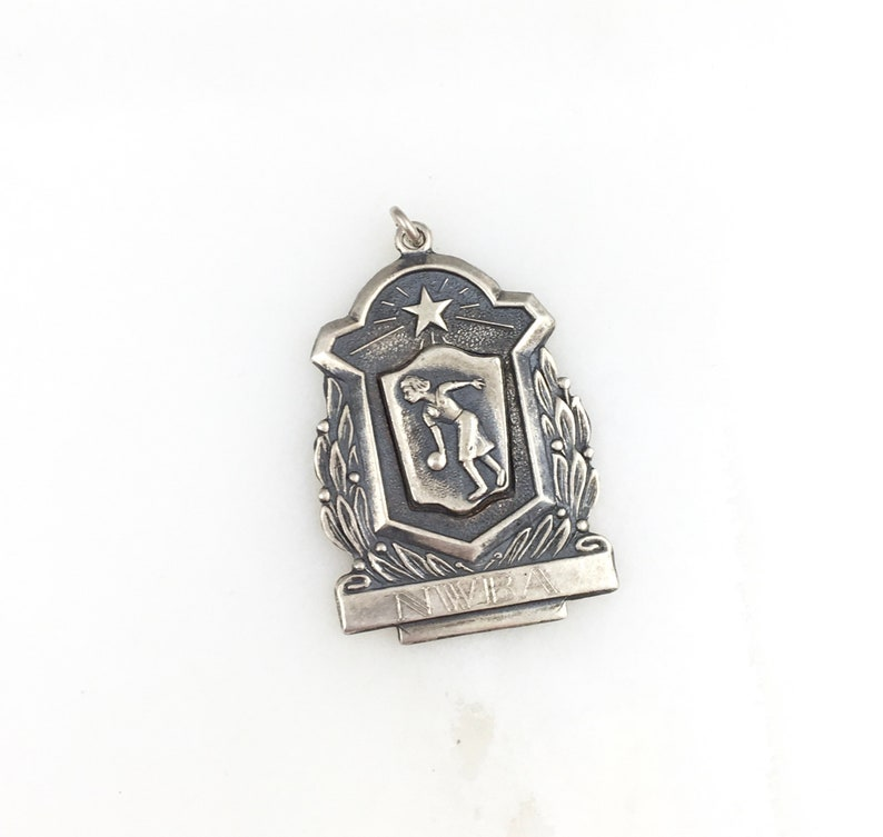 Vintage 925 Sterling Silver 50s Bowler Bowling Award Charm Pendant Necklace