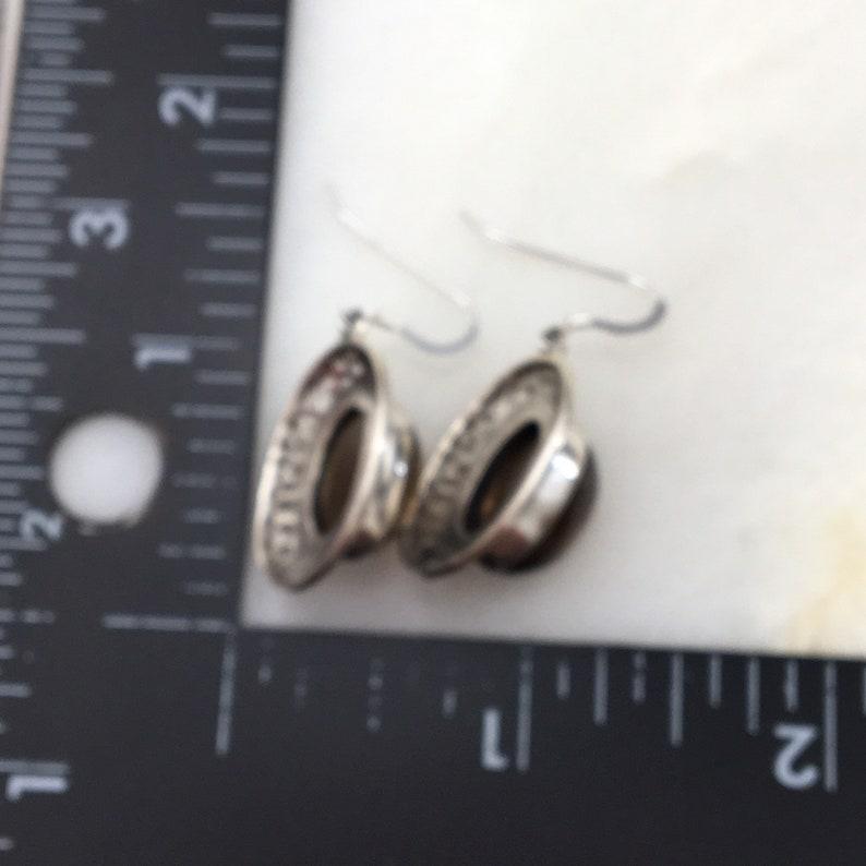 Vintage 925 Sterling Silver Brown Quartz Dangle Earrings