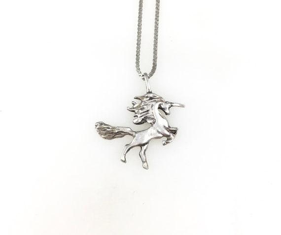 Vintage 925 Sterling Silver Unicorn Charm Pendant… - image 1