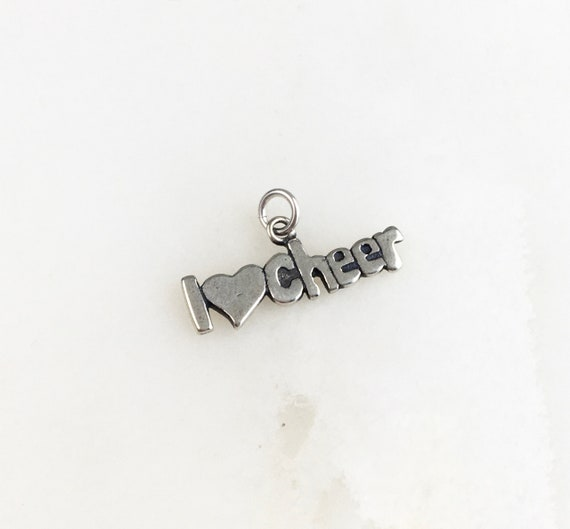 Vintage 925 Sterling Silver I Love Cheer Charm Pendant Necklace