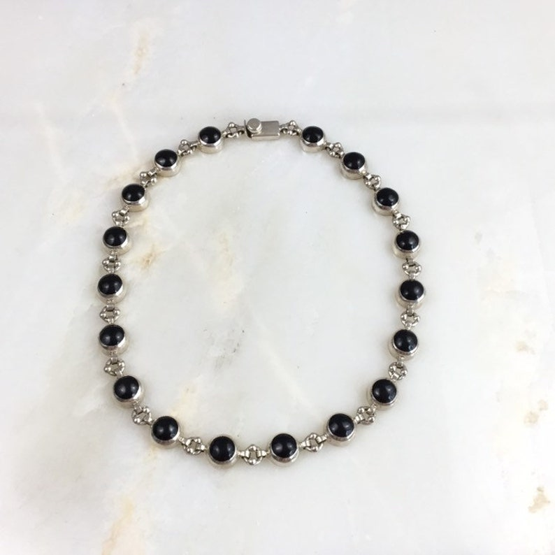Vintage Mexican Sterling Silver Taxco Onyx Multi Stone Modernist Collar Necklace
