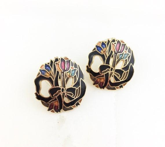 Vintage Enamel Cloisonne Abstract Stud Earrings Jewellery Jewelry Tulip Flower