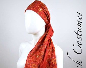 Red Embroidered Cotton Boho Pirate Headscarf