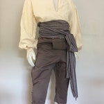 12 foot Gray Woven Stripe Pirate Costume Sash for Men Women or Kids