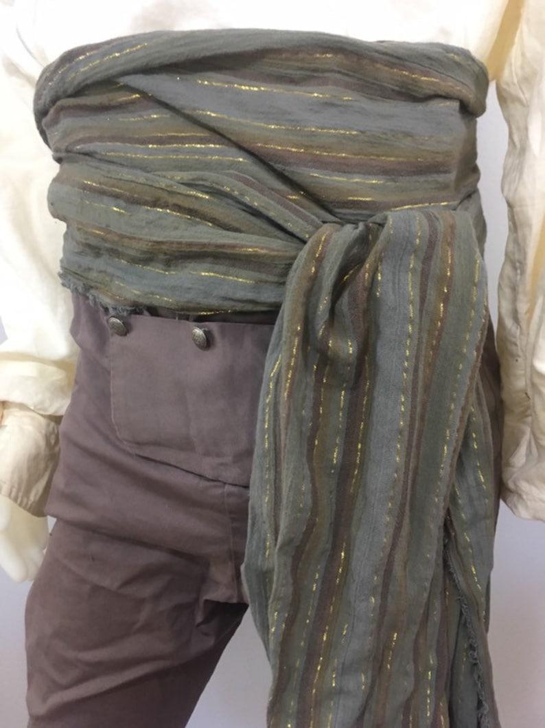 12 foot Gray Multicolor Woven Stripe Pirate Costume Sash for image 0
