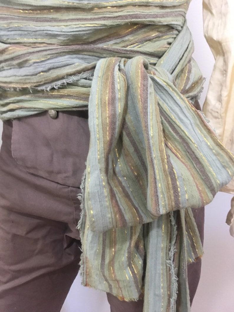 12 foot Green Multicolor Woven Stripe Pirate Costume Sash for image 0
