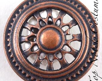 Antique Bronze Spoke Pattern Shank Buttons 23mm 7/8″