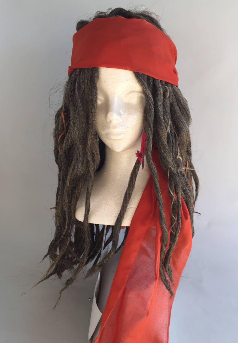 Brown Replica Captain Jack Sparrow POTC Pirate Costume Wig image 0