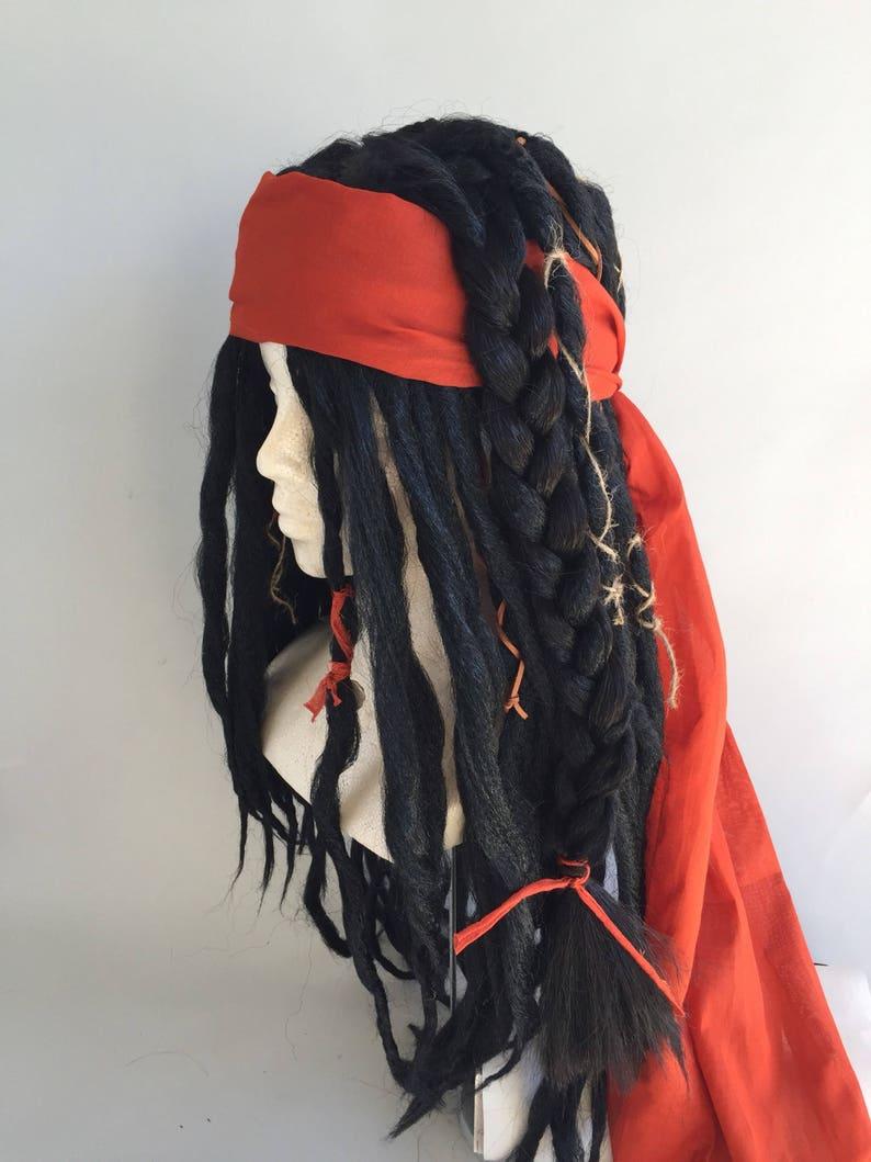 Black Replica Captain Jack Sparrow POTC Pirate Costume Wig image 0