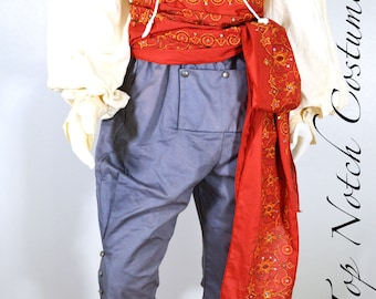 12 foot Red Embroidered Cotton Pirate Sash