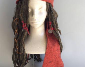Brown Replica Captain Jack Sparrow POTC Pirate Costume Wig Dread Lock 1RPXVb