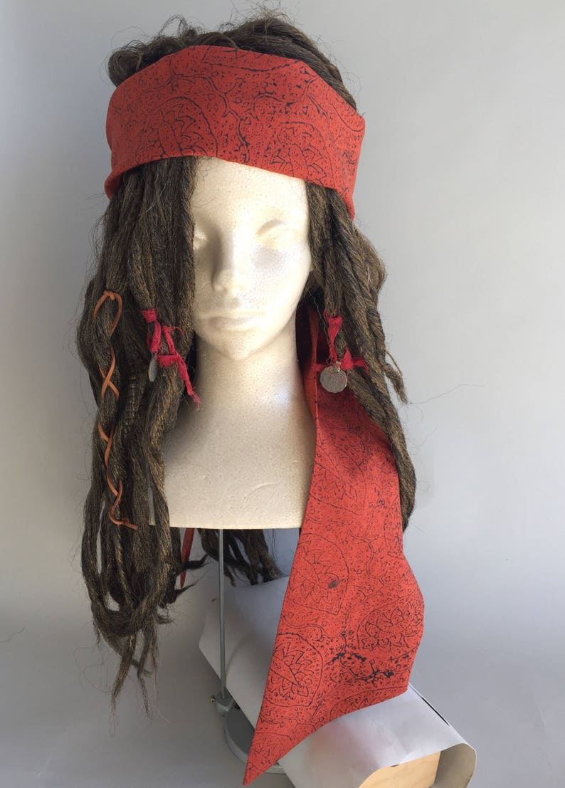 Linen Headscarf and Brown Replica Captain Jack Sparrow POTC image 0