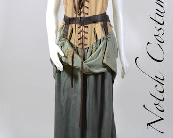 Green and Tan Stripe 18th Century Corset Bodice