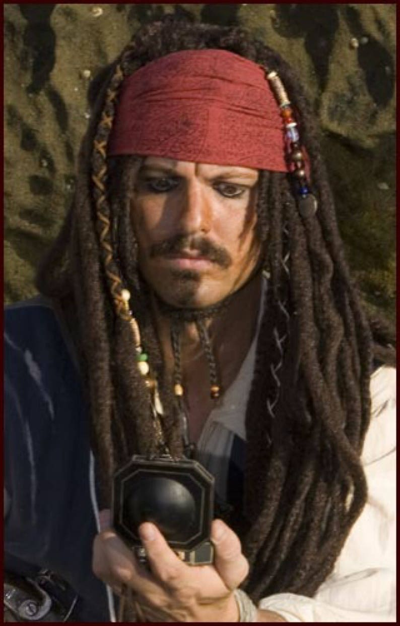 Hand Block Printed Captain Jack Sparrow Pirate Costume Head image 0