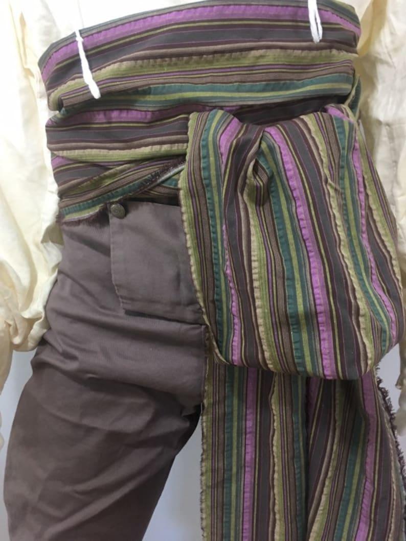 12 foot Brown Multicolor Woven Stripe Pirate Costume Sash for image 0
