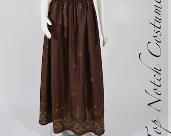 Brown Embroidered Ren Faire Pirate Skirt