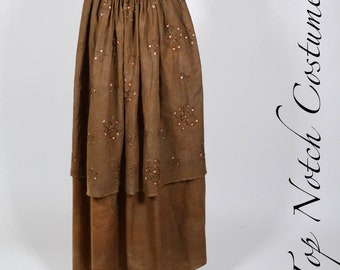 Double layered Cotton Aged Embroidered Ren Faire Pirate Skirt