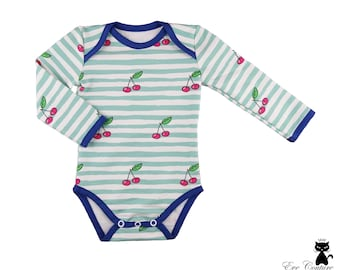 5362a1c470a Baby clothes baby bodysuit rompers onesie cherrys rockabilly Stripes blue  white red